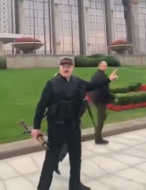 In Belarus, Lukashenko grabs an assault rifle and gets ready….